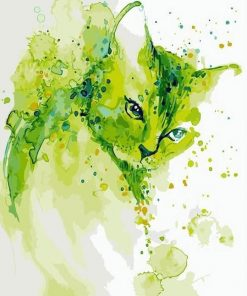 Abstract Green Cat paint by numbers