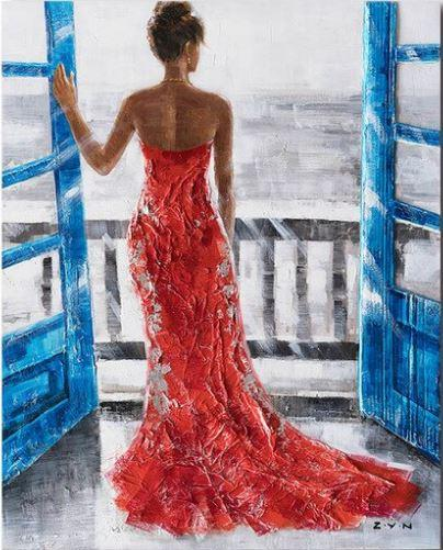 Red Gown Girl on Window