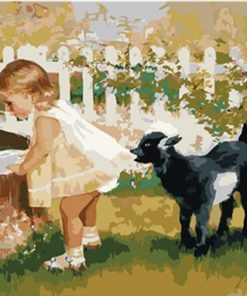 Black Sheep And Little Girl paint by numbers