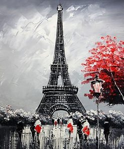 Black and White Paris Eiffel Tower paint by numbers