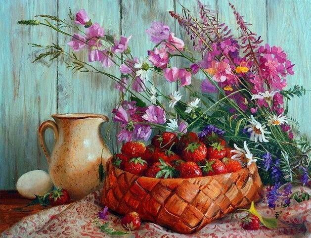 Strawberries Flower Basket
