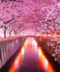 Cherry Blossoms Park paint by numbers