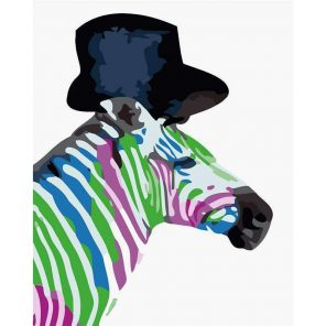Colored Zebra paint by numbers