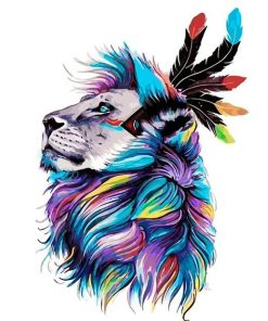 Colorful Lion paint by numbers