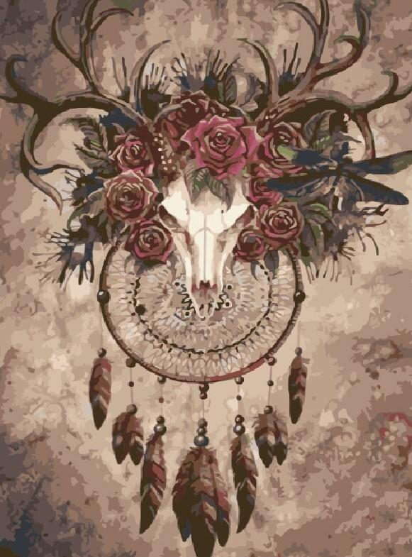 Deer Dream Catcher paint by numbers
