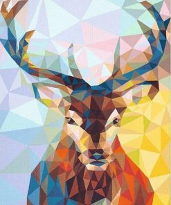 Geometric colorful deer paint by number
