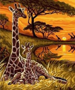 Giraffe Couple paint by numbers