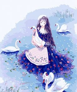 Girl Accompanying The Swan paint by numbers