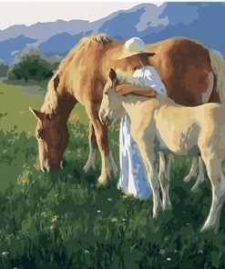 Girl Among Horses paint by numbers