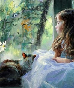 Girl And Cat paint by numbers