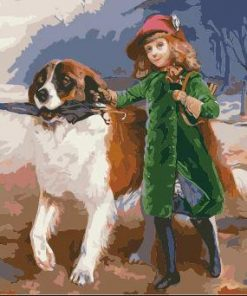 Girl And Dog in Rainy Day paint by numbers