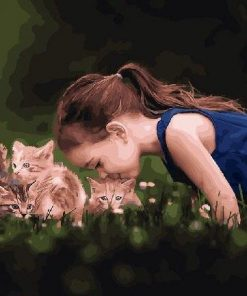 Girl And Her Cats Baby paint by numbers