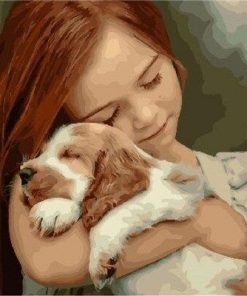 Girl And Her Puppy paint by numbers