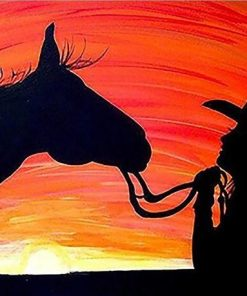 Girl And Horse Silhouette paint by numbers