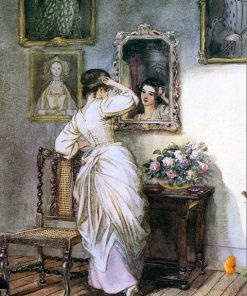 Girl Looks to The Mirror paint by numbers