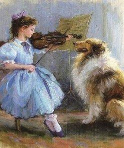 Girl Plays Violin For a Dog paint by numbers