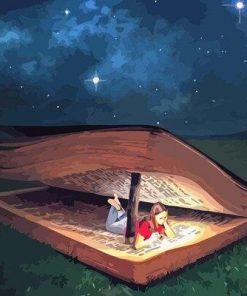 Girl Sleeping in Magic Book paint by numbers