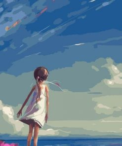 Girl Staring at the Sky paint by numbers