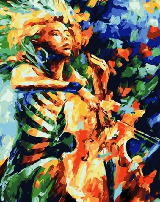 Girl With a Violin paint by numbers