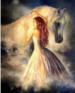 Girl and White Horse paint by numbers