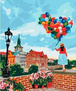 Girl balloons in Seville paint by numbers