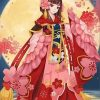 Girl in A Red Kimonos paint by numbers