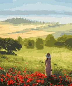 Girl in Large Field paint by numbers