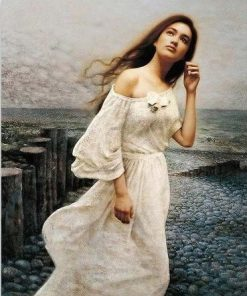 Girl with a White Dress paint by numbers