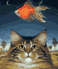 Golden Cat and Fish paint by numbers