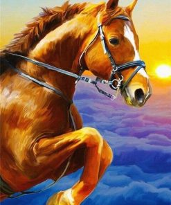 Golden Horse Above Clouds paint by numbers
