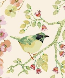 Green Bird With Flowers paint by numbers