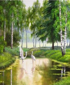 Green Forest River paint by numbers