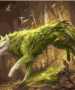 Green Wolf paint by numbers