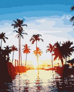 Palm Tree Sunset paint by numbers