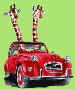 Happy Driving Giraffe paint by numbers