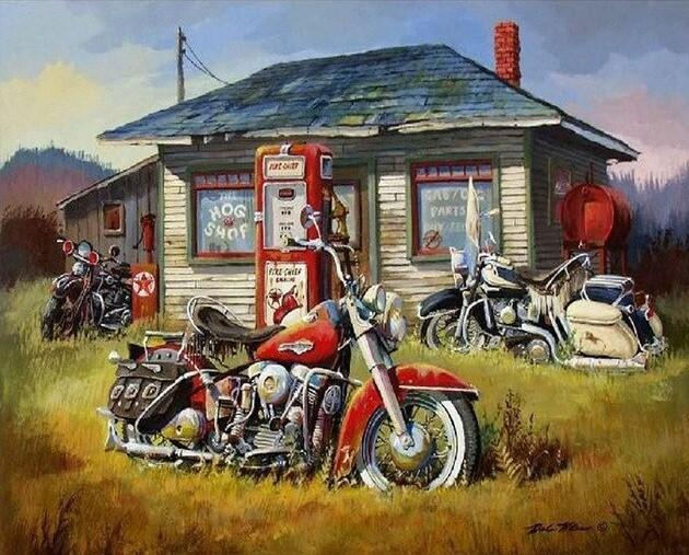 Harley Davidson Motorcycles paint by numbers