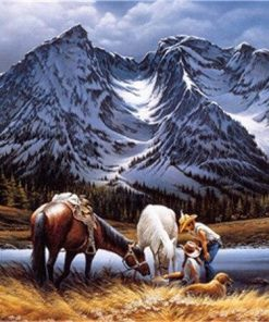 Horses In Mountains paint by numbers