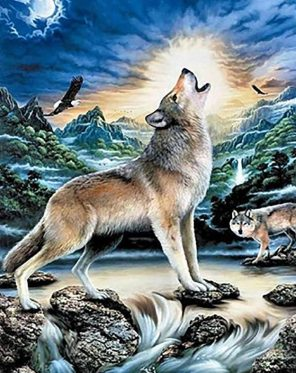 Howling Wolf paint by numbers