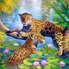 Jaguar in the Water paint by numbers