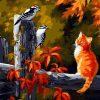 Kitten with Birds paint by numbers