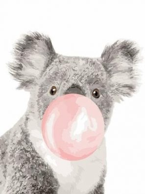 Koala with Bubble gum paint by numbers