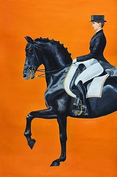 Lady Riding a Royal horse paint by numbers