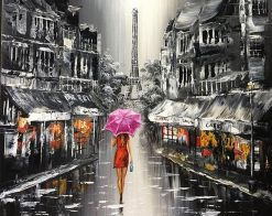 Lady Walking On The Street of Paris paint by numbers