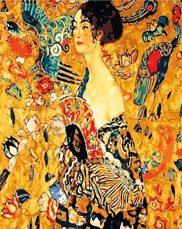 Lady with Fan Gustav Klimt paint by numbers