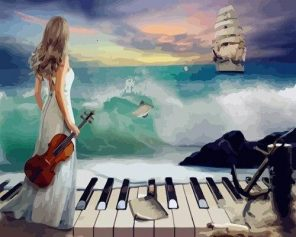 Lady with Piano and Violin at the Beach paint by numbers