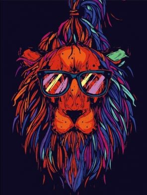 Lion Hipster paint by numbers