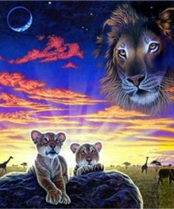Lion Watch His Cubs paint by numbers