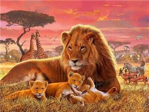 Lion With Cubs paint by numbers