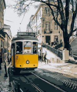 Lisbon Yellow bus paint by numbers
