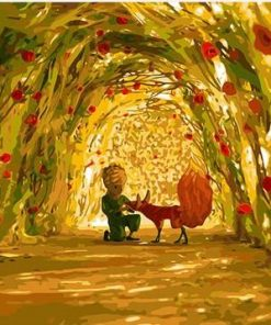 Little Boy And Fox in Garden paint by numbers
